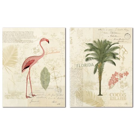 Tropical Florida Pink Flamingo and Palm Tree Set by Katie Pertiet; Two 11x14in Poster Prints. Pink/Green/Tan