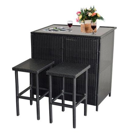 Mcombo 3PCS Black Wicker Bar Set Patio Outdoor Table & 2 Stools Furniture Steel