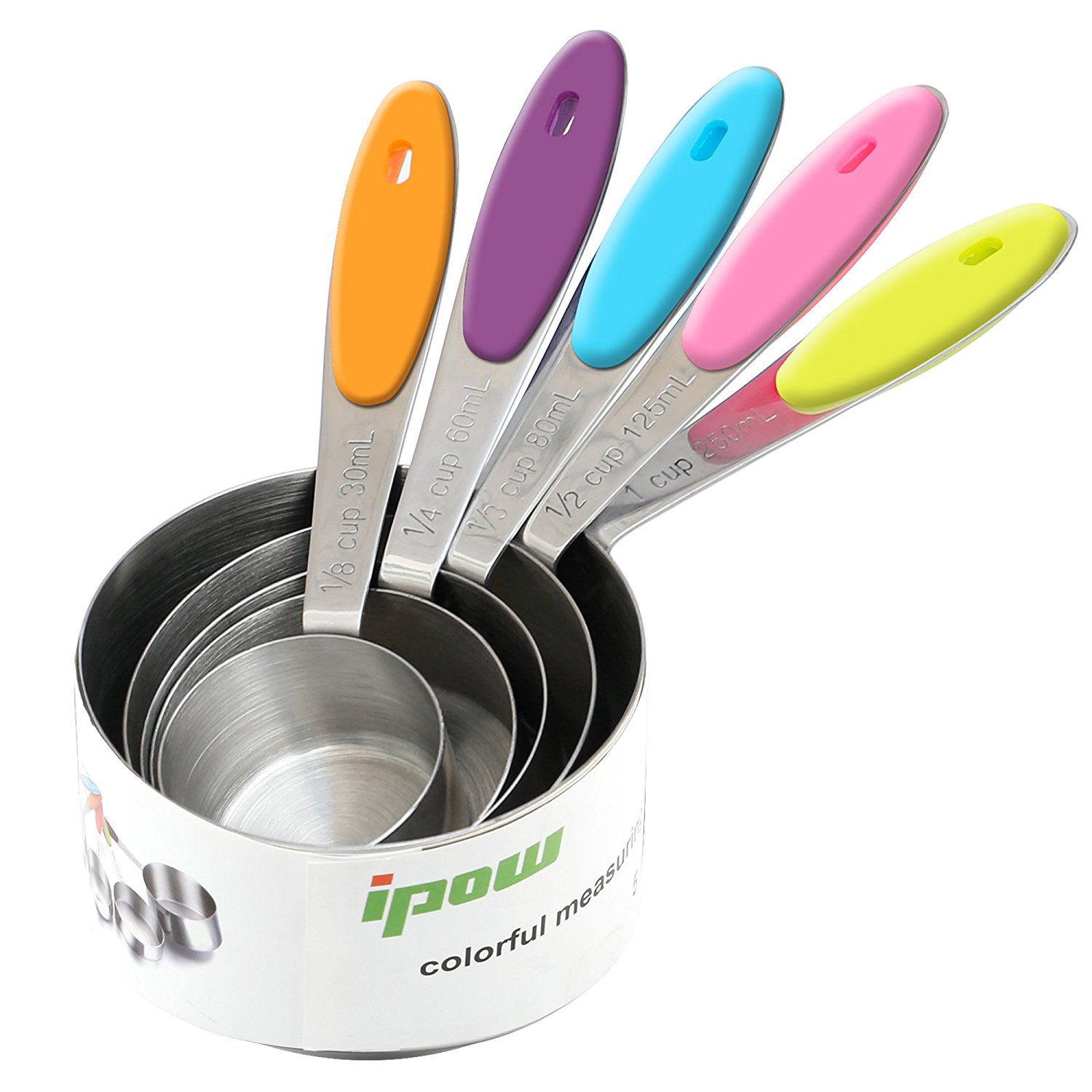 IPOW Stainless Steel Liquid & Dry Measure Cup Stackable Measuring Cup Set - Home Kitchen Gadget, Tool & Utensils for Cooking & Baking, Set of 5 (1/8, 1/4, 1/3, 1/2, 1 Cup)