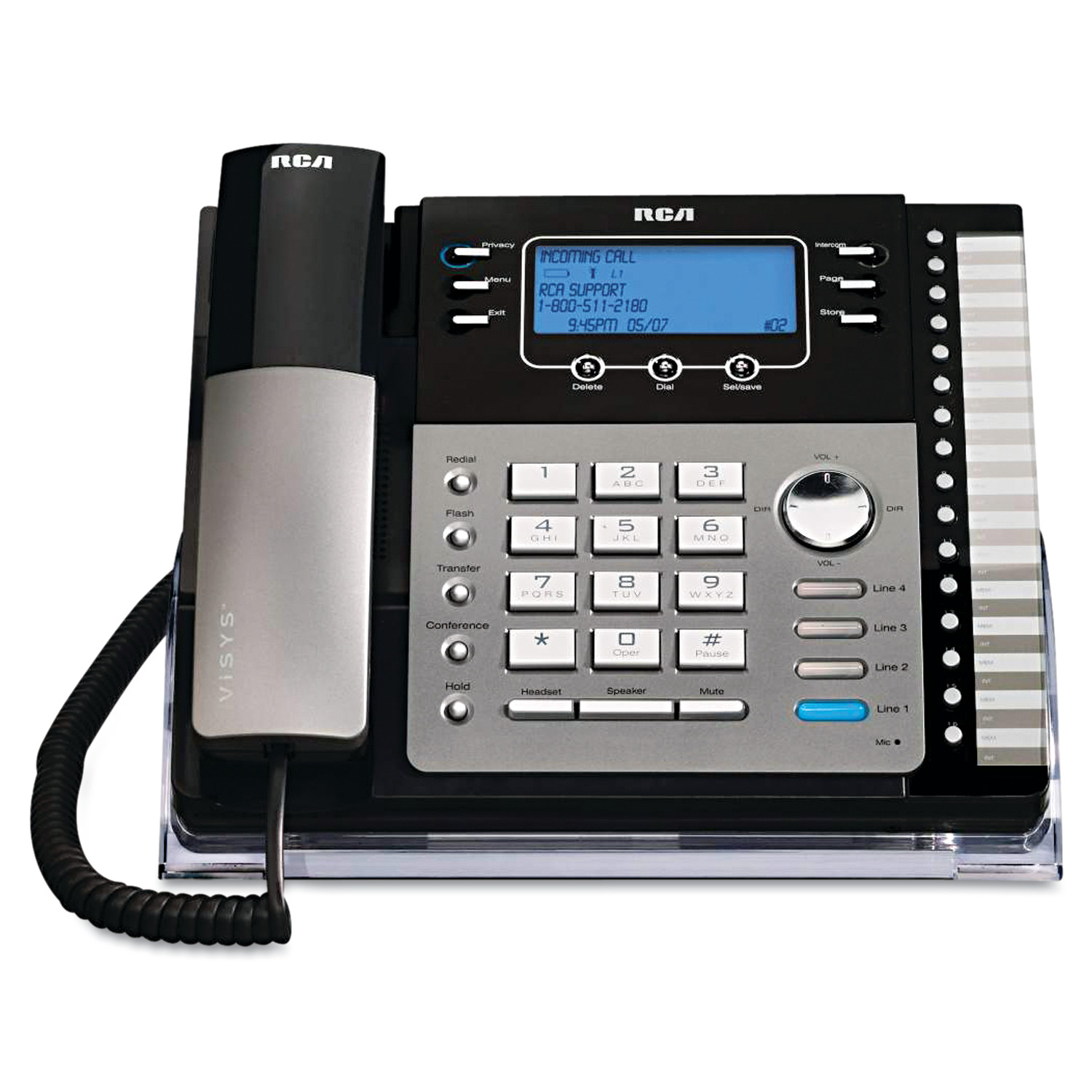 RCA ViSYS 25425RE1 Four-Line Phone with Digital Answering Machine, Caller ID