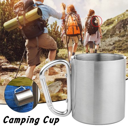 Medallion Double Handle - 4Pcs 220ML Travel Coffee Mug Stainless Steel Lid Tea Drink Tea Cup Handle Double Wall For Camping Hiking Outdoor