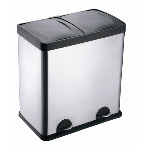 Step N' Sort 13-Gallon 2-Compartment Stainless Steel Trash and Recycling Bin