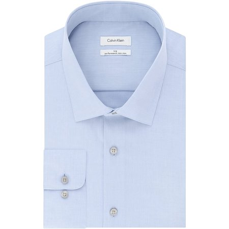 "Calvin Klein Men's Non Iron Big and Tall Herringbone Spread Collar Dress Shirt, Blue, 22"" Neck 37""-38"" Sleeve - image 1 of 1"