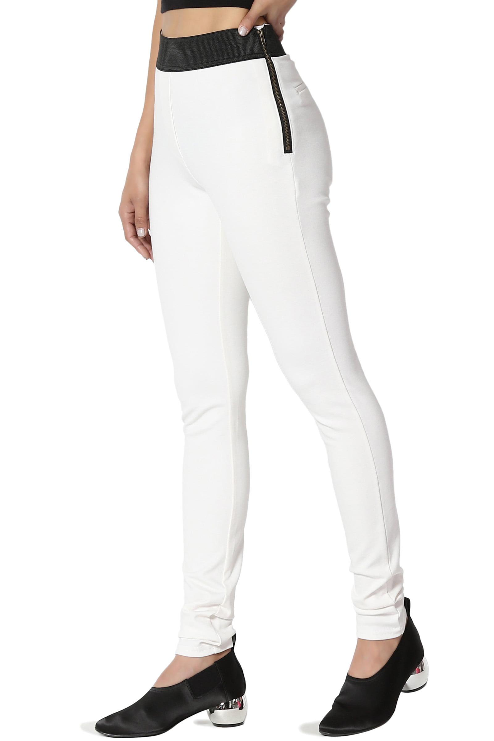 TheMogan Junior's Elastic High Waist Stretch Ponte Jersey Knit Curvy Skinny Pants