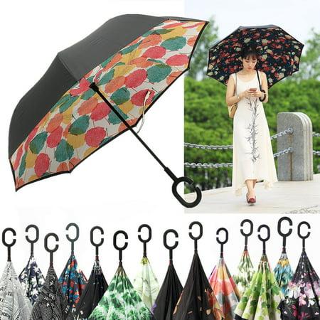 24 Patterns Creative Umbrella Upside Down Inverted Folding C-Handle Umbrella Windproof Double Layer Reverse Design (Creative Umbrella)