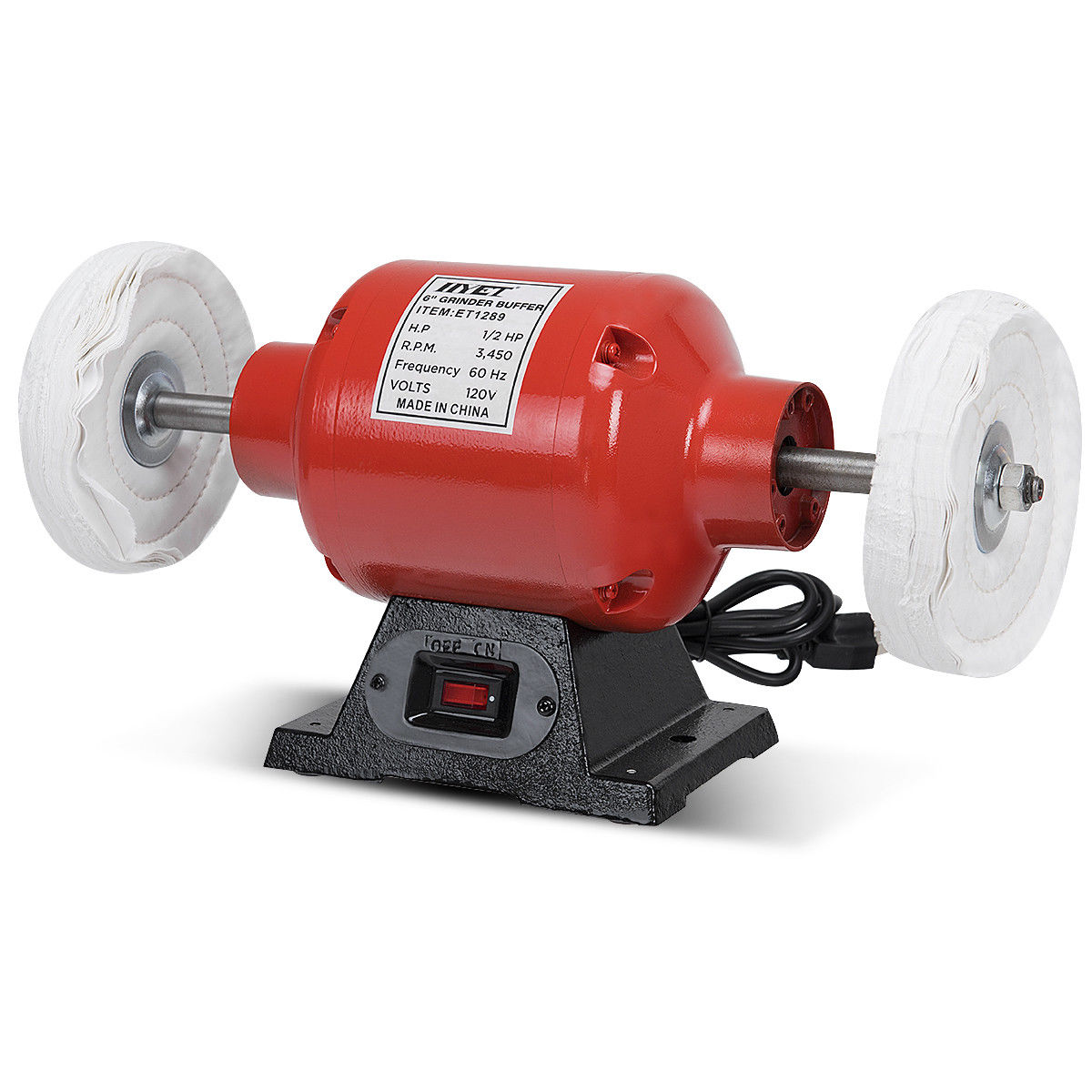 Costway 6 Inch Benchtop Buffer Polisher Grinder Heavy Duty 1/2HP with Two Buffing Wheels