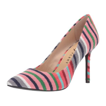 Katy Perry Women's The Sissy-Stripe Terry Cloth Pump, Scarlet, Size 7.0