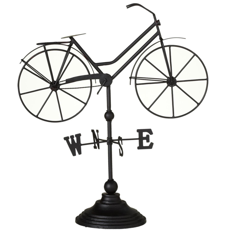 "Set of 2 Metallic Black Luxurious Shade Hand Crafted Bicycle Weathervane 20.75"""