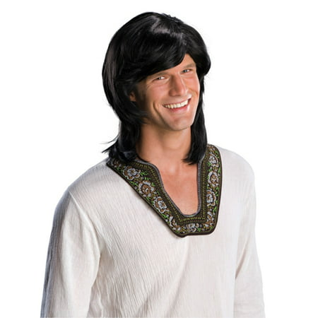 Adult Mens Black 70s Groovy Hippie Disco Costume - 70s Disco Wig
