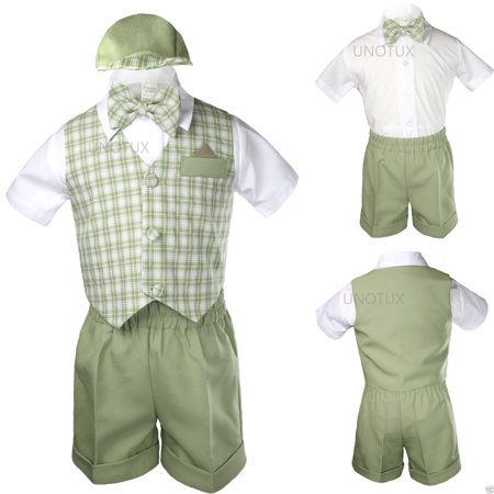 Sage Green Checks Gingham Vest set Shorts Suit Boy Baby Toddler S M L XL 2T 3T4T