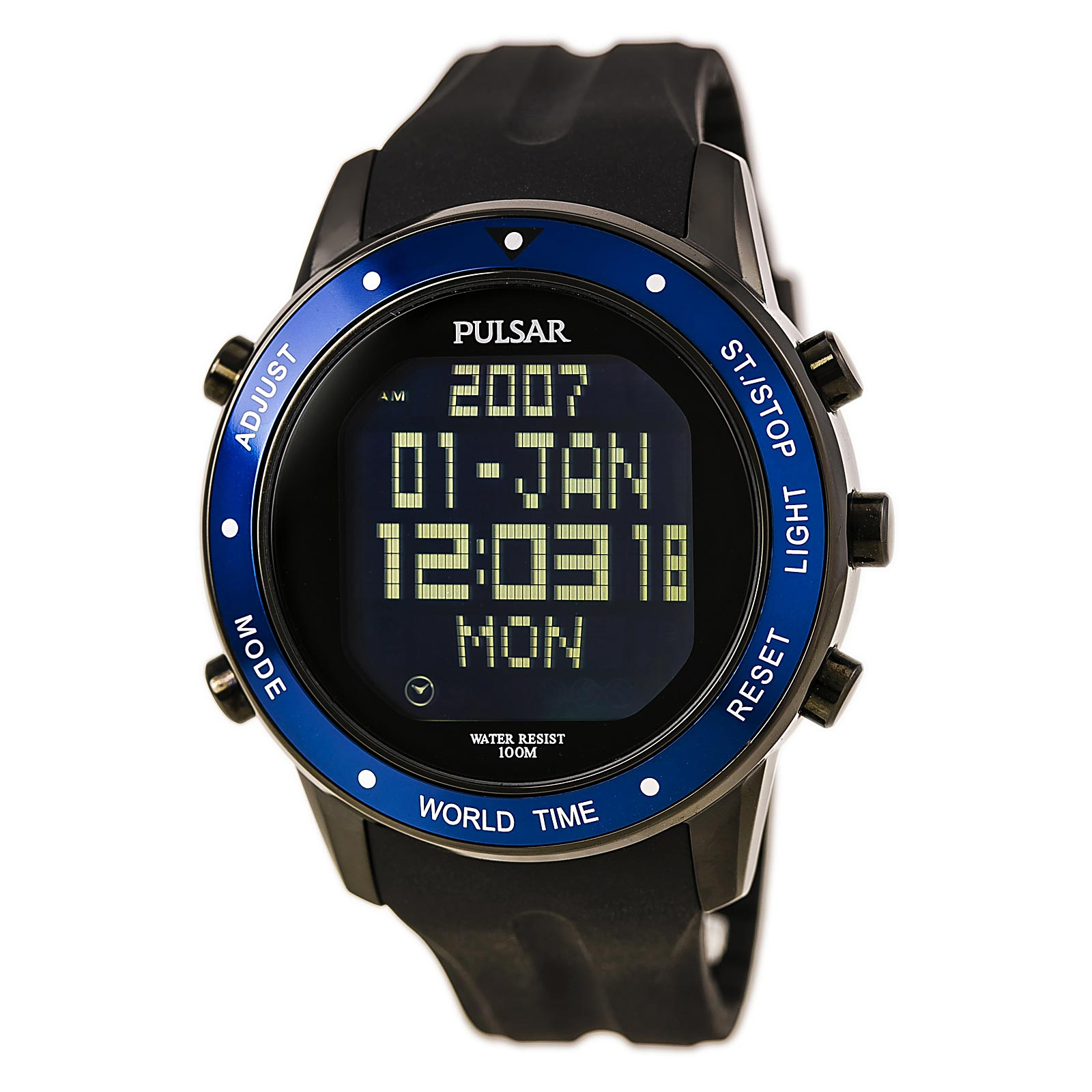 Pulsar PQ2021 Men's On The Go Chrono Black Strap Digi Black Dial World Time Alarm Watch