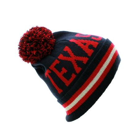 US Cities Texas Block Letters Cuff Beanie Knit Pom Pom Hat Cap ()