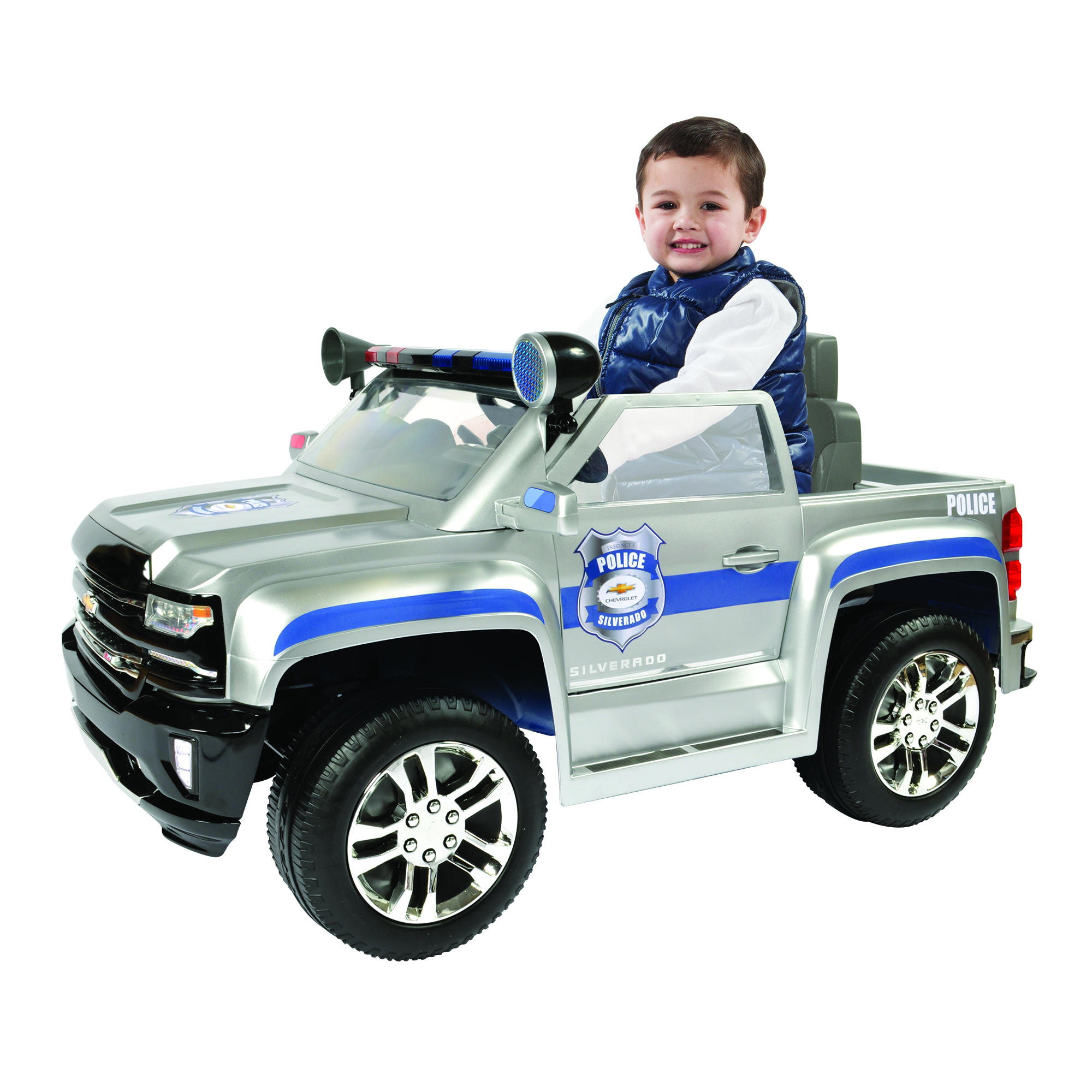 Rollplay 6 Volt Chevy Silverado Police Truck Ride On Toy, Battery-Powered Kid's Ride On Car by Aria Child