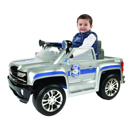 Rollplay 6 Volt Chevy Silverado Police Truck Ride On Toy, Battery-Powered Kid's Ride On