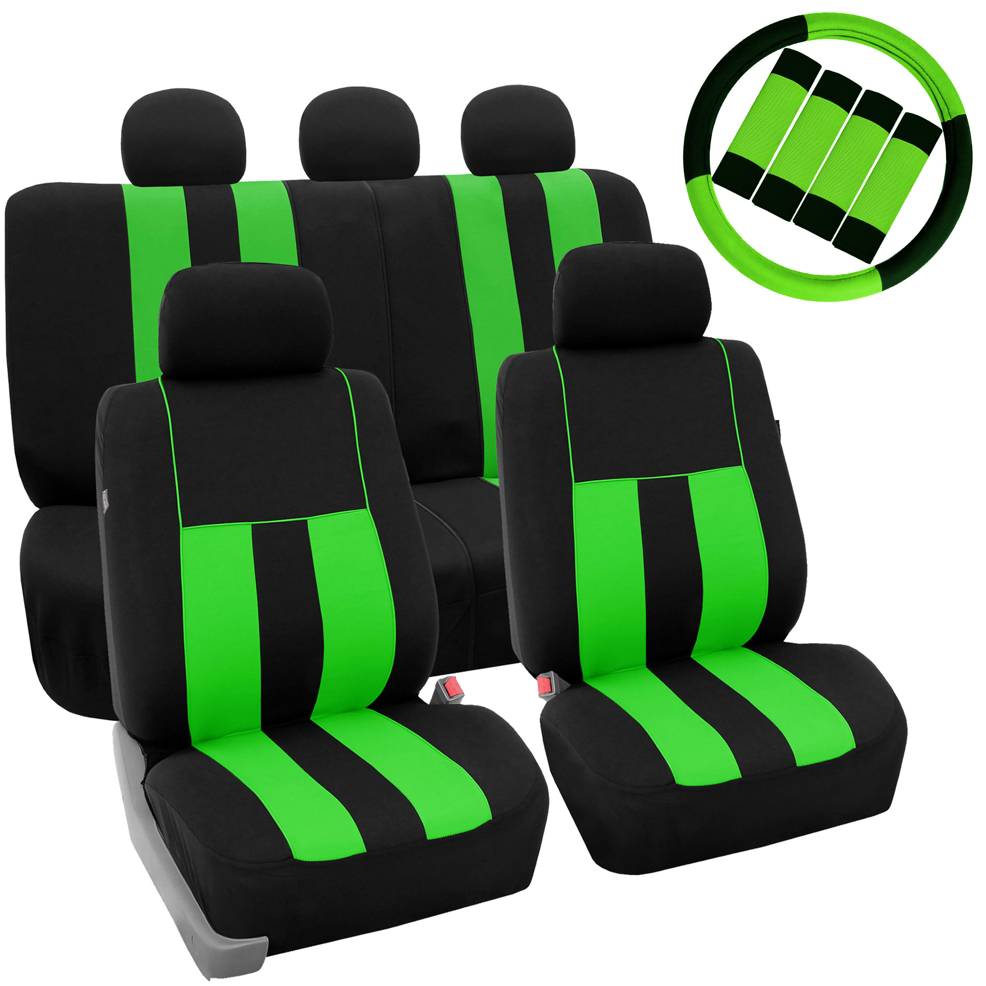 FH Group Car Seat Covers Striking Striped for Sedan, SUV, Van, Full Set w/ Steering Cover & Belt Pads, Green Black