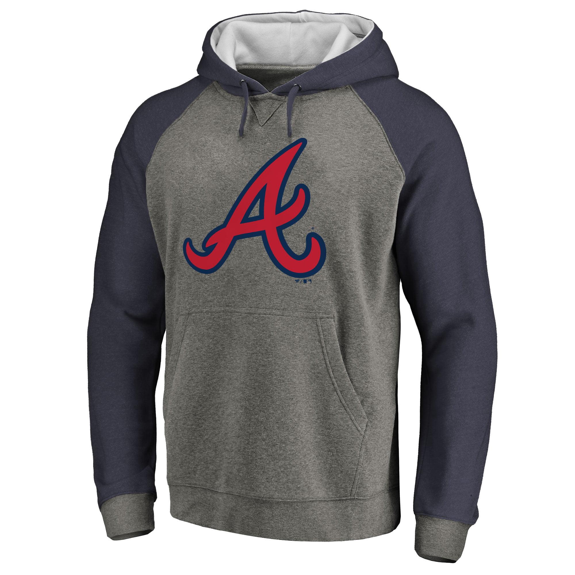 Atlanta Braves Primary Logo Raglan Sleeve Tri-Blend Pullover Hoodie - Ash
