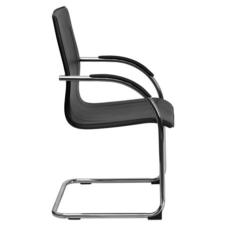 Flash Furniture Hercules Series Vinyl Side Reception Waiting Room Chair with Chrome Sled Base, Black