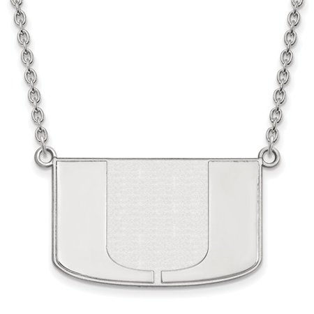 Sterling Silver Logoart Official Licensed Collegiate 18In University Of Miami  Um  Large Pendant W Necklace