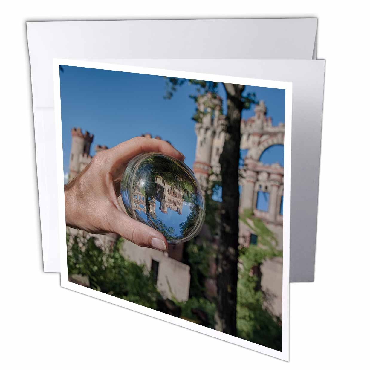 3dRose Castle in crystal Ball, Greeting Card, 6 x 6 inches, single