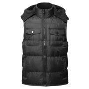 FashionOutfit Men's Casual Detachable Hood Chest Pockets Puffer Vest