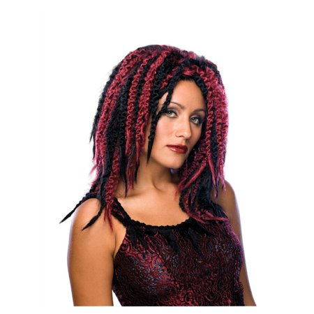 Adult Womens Wavy Curly Dreaded Vampire Gothic Streaked Black Burgundy Wig - Wig Dreads