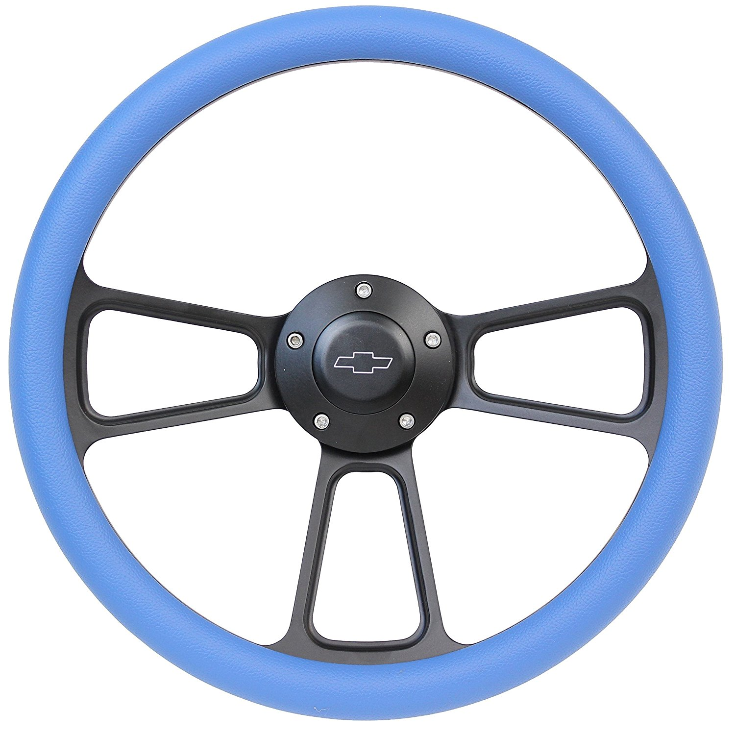 5-bolt Black Steering Wheel 14 Inch Aluminum with Red Vinyl Wrap and Chevy Horn Button