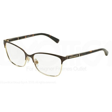 06817e6676dd DOLCE   GABBANA Eyeglasses DG 1268 1254 Matte Brown Pale Gold 54MM -  Walmart.com