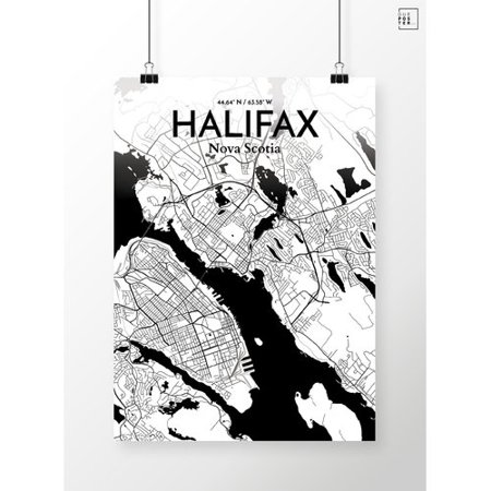 Ourposter Com Halifax City Map Graphic Art Print Poster In Ink