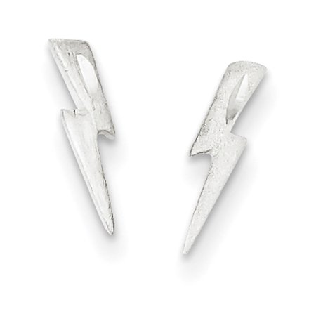 Sterling Silver Lighting Bolt - Sterling Silver Lightning Bolt Post Earrings