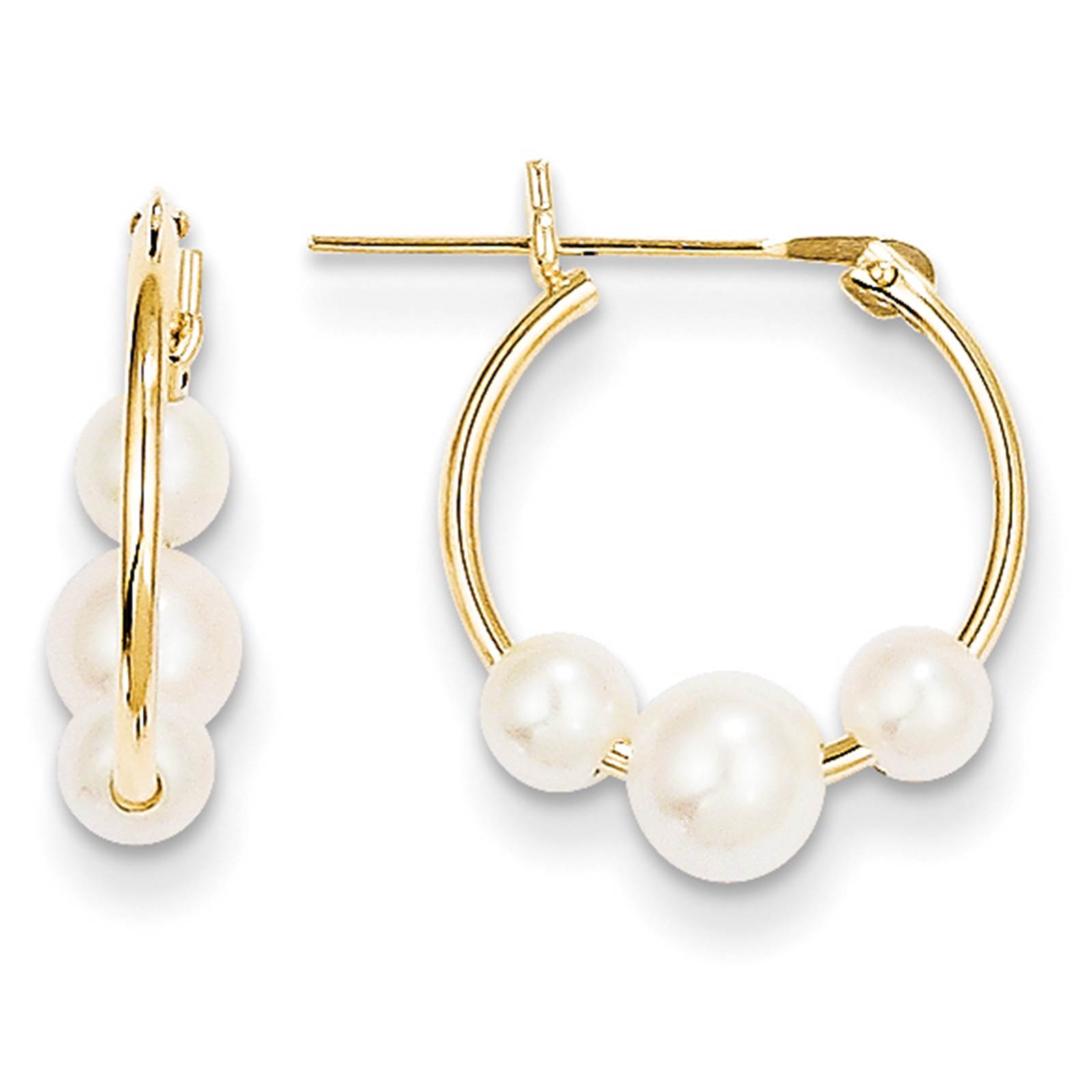 Madi K Kids 14k Yellow Gold Polished Moveable Pearl Hinged Hoop Earrings