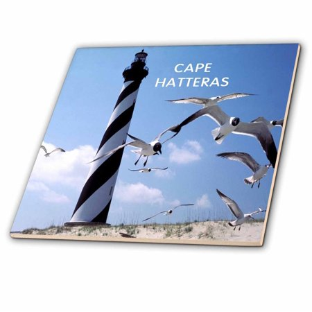3dRose Cape Hatteras Lighthouse In North Carolina With Birds Flying - Ceramic Tile, 12-inch