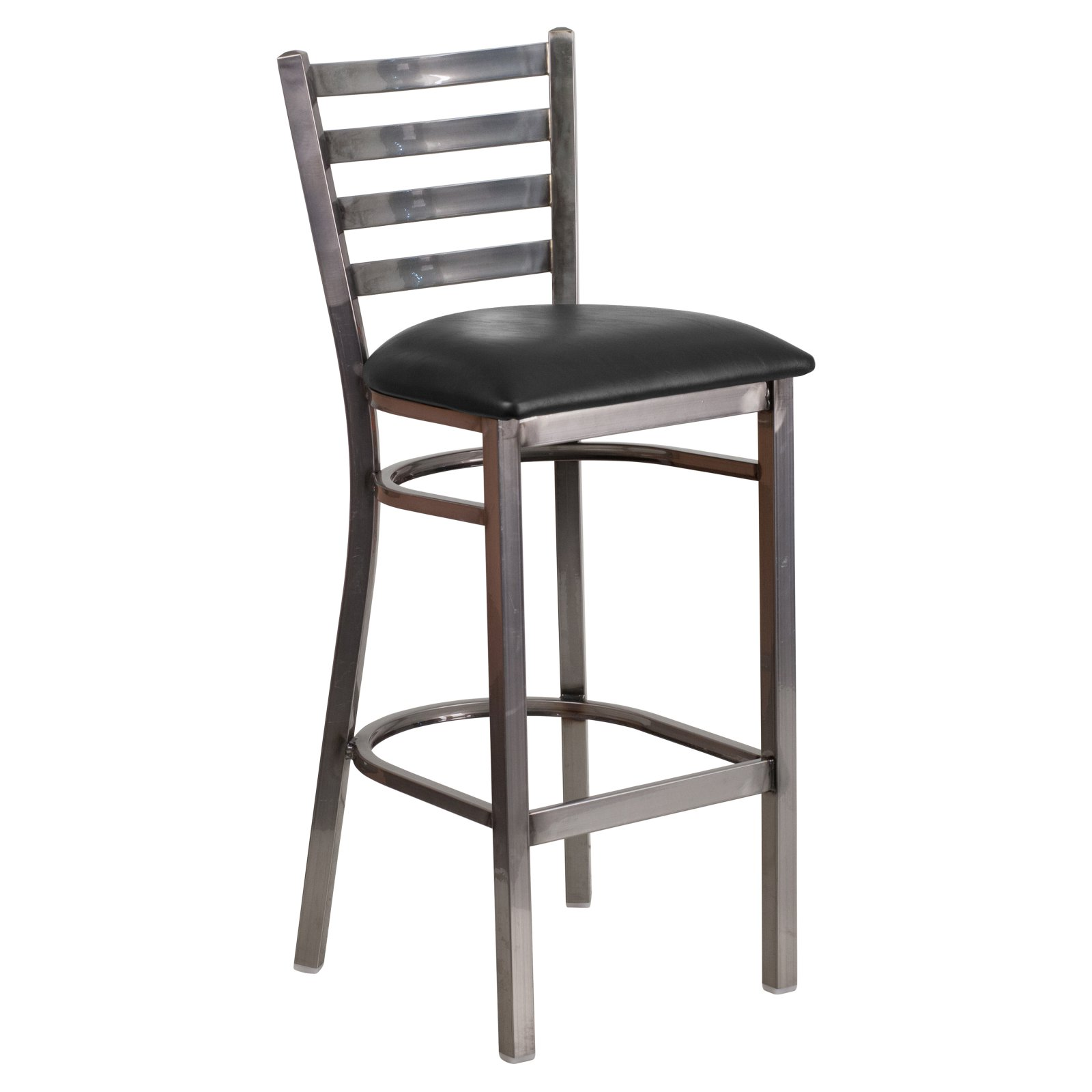 Flash Furniture HERCULES Series Clear Coated Ladder Back Metal Restaurant Barstool, Vinyl Seat, Multiple Colors