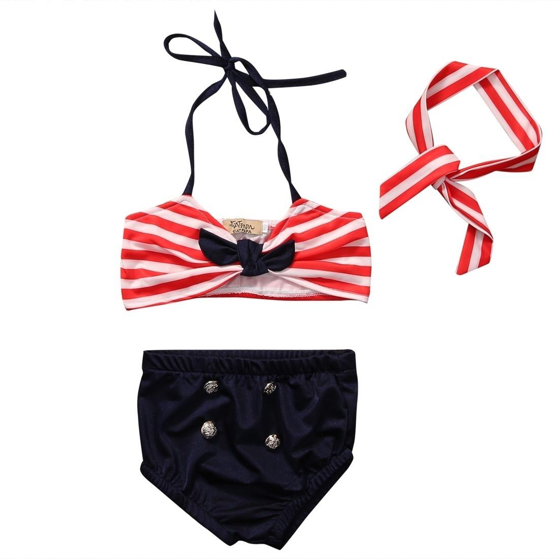 3Pcs Infant Baby Girls Halter Bowknot Tube Top+Short Strips Bottoms+Headband Bathing Bikini Swimsuit