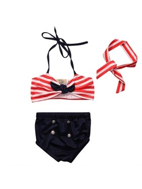 Toddler Girl Kids Swimwear Girls Stripe Bikini Swimming Costume Bodysuit Swimsuit 3PCS