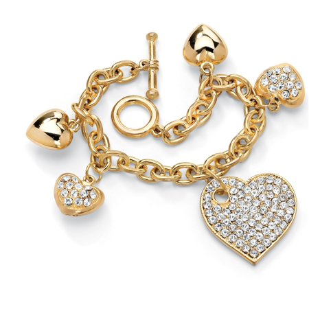 Crystal Multi-Heart Charm Bracelet in Yellow Gold Tone (Hematite Tone Crystal)