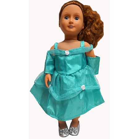 Turquoise Party Dress Fits 18 Inch Girl Dolls Like American Girl, My Life