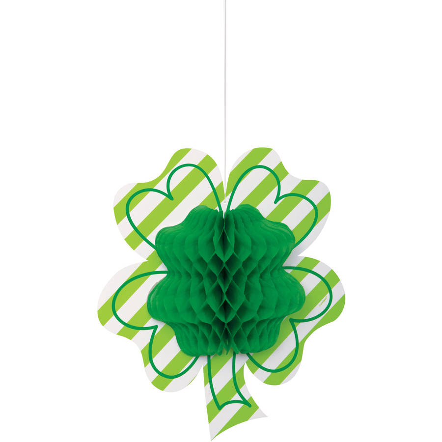 St. Patrick's Day Hanging Shamrock Honeycomb Decoration, 12in