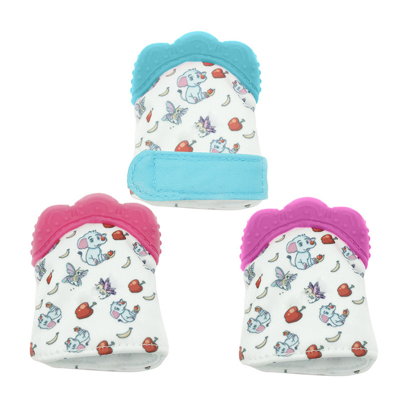 1PC Baby Teether Glove Safe Silicone Candy Wrapper Sound Teether