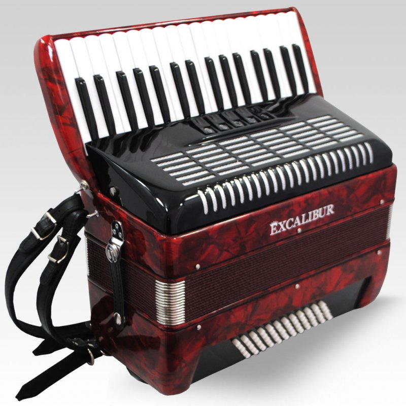 Excalibur German Weltbesten Ultraliite 60 Bass Piano Accordion Pearl Red by