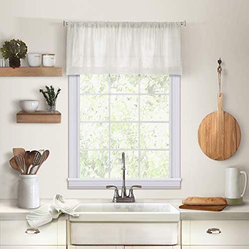 Elrene Cameron Linen Kitchen Window Valance - 60u0022 w x 15u0022 l