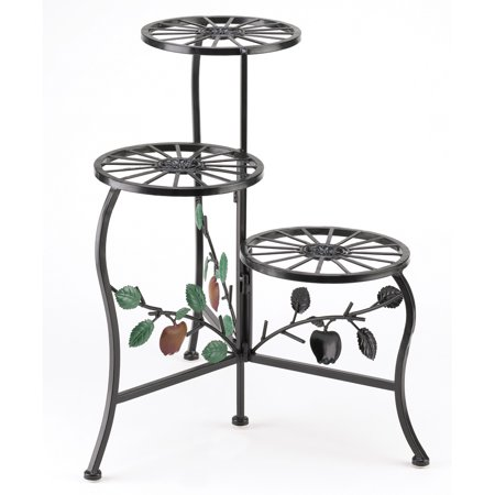 3 Tier Plant Stands - Office Plant Stand, Decorative Wrought Iron 3 Tier Plant Stand - Black
