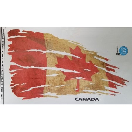 Canada Flag Decal - Tattered and Distressed Look 8