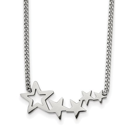 Stainless Steel Polished Stars 18 Inch With 2 Inch Extension Necklace -  Chisel
