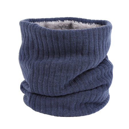 Double Layer Soft Knitted Neck Loop Cotton Velvet Lining Winter Warm Scarf Couples Pure Color Comfortable Neckerchief