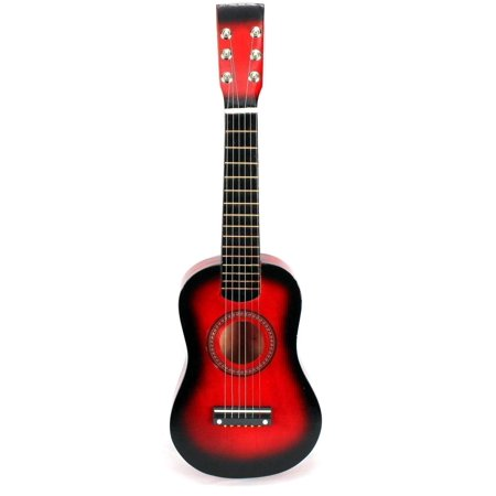 Red Classic Guitar - Red Classic Rock 'N' Roll 6 Stringed Acoustic Guitar Toy Guitar Musical Instrument for Kids, Includes: Guitar Pick & Extra Guitar String