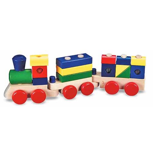 Melissa & Doug Stacking Train Classic Wooden Toddler Toy (18 pcs) by Melissa %26 Doug