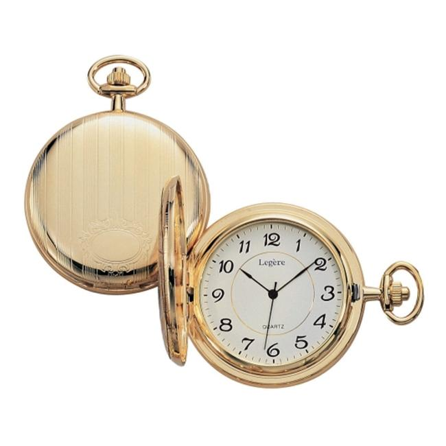Legere BPW-801 Large Gold Pocket Watch With White And Black Dial