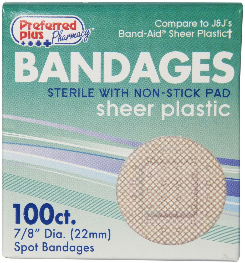 Bandages Sterile Sheer Plastic Spot 100 ea