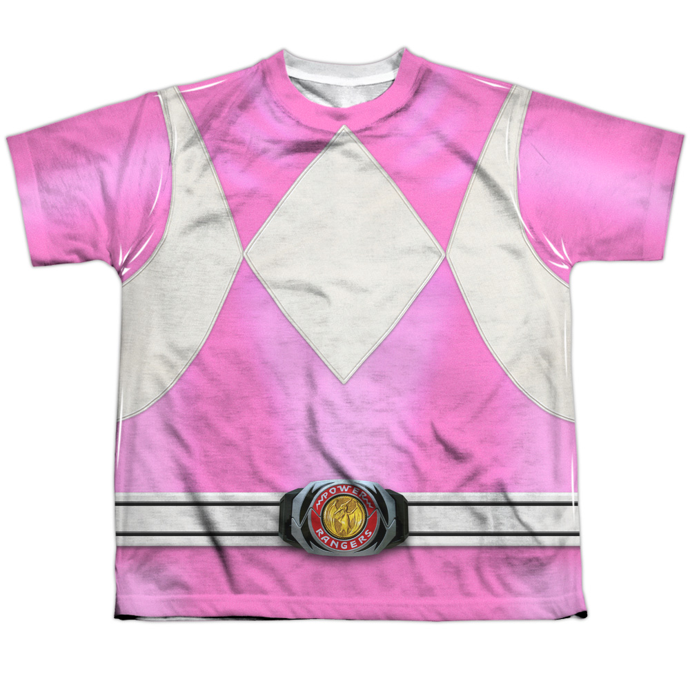 Mighty Morphin Power Rangers Pink Ranger Big Boys Sublimation Shirt White XL