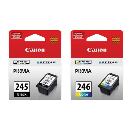 Genuine Canon PG-245 Black Ink Cartridge + Canon CL-246 Color Ink - Genuine Canon Replacement